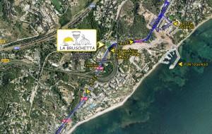 mapa para llegar al restaurante la bruschetta desde Altea
